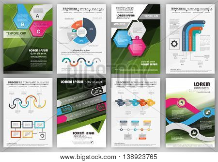 Abstract vector backgrounds and brochures for web and mobile applications. Business and technology infographic icons creative template design for presentation poster cover booklet banner.