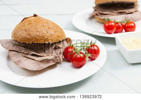Beef cob Two fresh cob or bap stuffed with British beef
