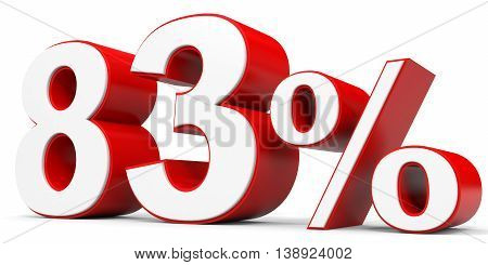 Discount 83 percent off on white background. 3D illustration.