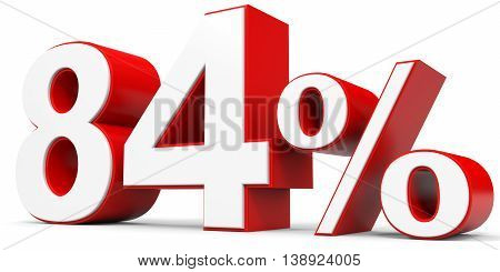 Discount 84 percent off on white background. 3D illustration.
