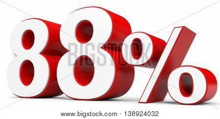 Discount 88 percent off on white background. 3D illustration.