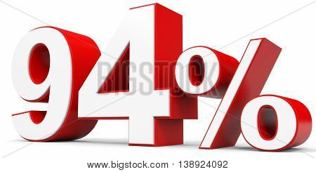 Discount 94 percent off on white background. 3D illustration.