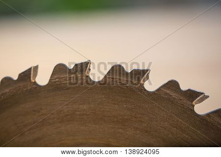 Circular saw blade , close-up , macro