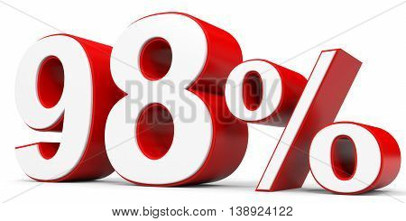 Discount 98 percent off on white background. 3D illustration.