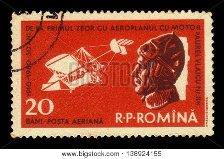 ROMANIA - CIRCA 1960: A stamp printed in Romania shows portrait of Aurel Vlaicu, romanian engineer, inventor, airplane constructor, early pilot and Vlaicu II airplane, circa 1960
