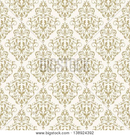 Seamless classical pattern. Vintage ornamental background with elegant gold victorian pattern