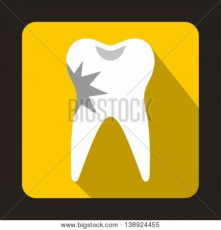 Cracked tooth icon in flat style on a yellow background