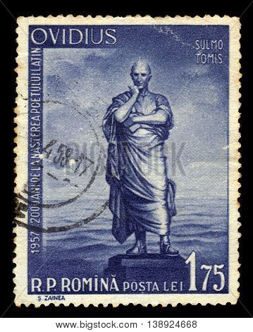 ROMANIA - CIRCA 1957: A stamp printed in Romania shows portrait of Publius Ovidius Naso, roman poet, circa 1957