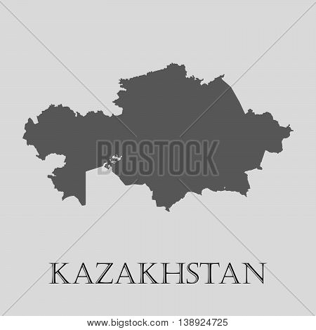 Gray Kazakhstan map on light grey background. Gray Kazakhstan map - vector illustration.