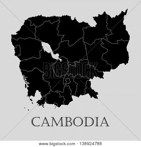 Black Cambodia map on light grey background. Black Cambodia map - vector illustration.