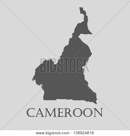 Gray Cameroon map on light grey background. Gray Cameroon map - vector illustration.