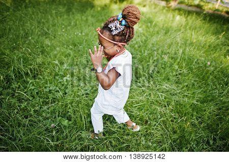 Amazing Beautiful African American Baby Girl With Sunglasses Having Fun
