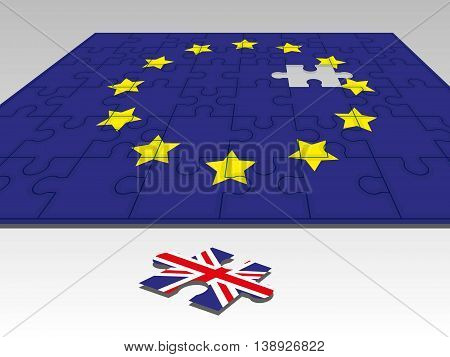flags of the European Union and the UK in the form of a puzzle