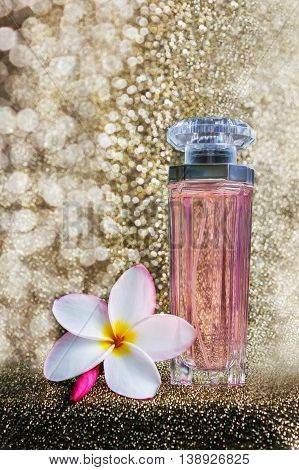 Perfume Or Au De Parfume With On Golden Luxury Glitering Bokeh