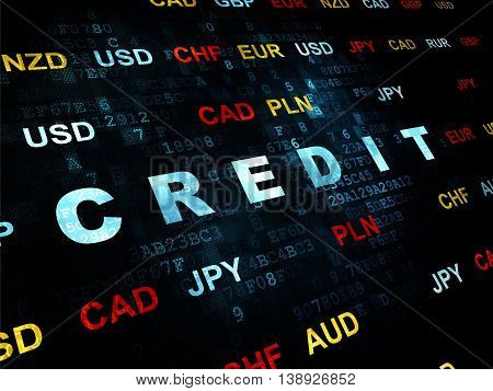 Currency concept: Pixelated blue text Credit on Digital wall background with Currency