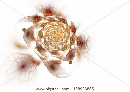 Abstract colorful rose flower on white background. Fantasy orange yellow and brown fractal design for postcards or t-shirts. 3D rendering.