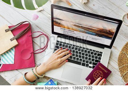 Passport Laptop Travel Planning Journey Concept