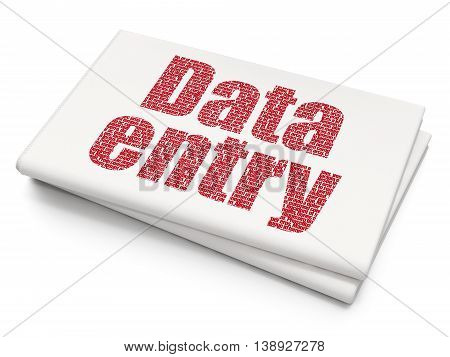 Data concept: Pixelated red text Data Entry on Blank Newspaper background, 3D rendering