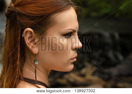beautiful profile face woman with braid hair