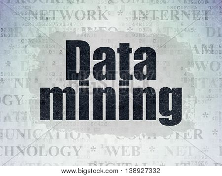 Information concept: Painted black text Data Mining on Digital Data Paper background with   Tag Cloud