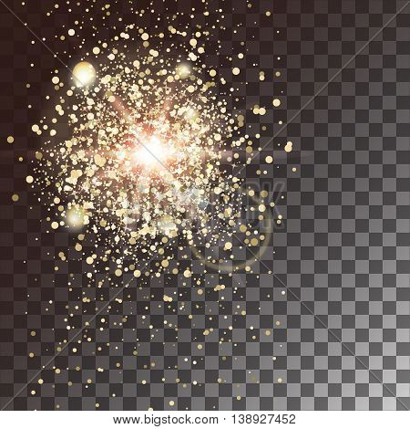 Gold glow light effect on a transparent background. Star burst with sparkles. Vector illustration.