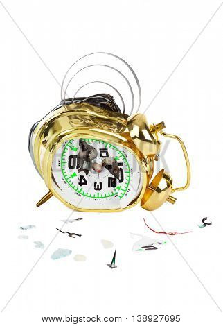 Broken alarm clock isolated on white background
