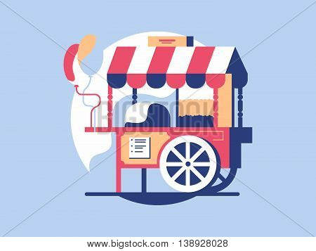 Trolley with popcorn. Market cart and kiosk store with snack, vector illustration
