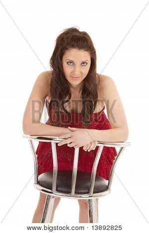 Woman Red Dress Forward Barstool