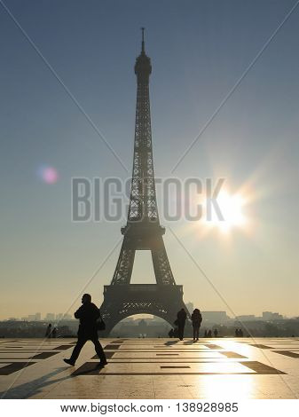 The famous Eiffel tower in Paris early in the morning.