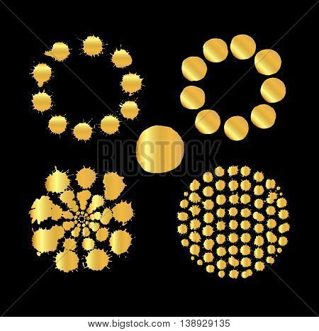 Set Of Gold Spots Isolated On Black