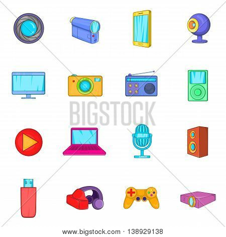Multimedia icons set in cartoon style. Video set collection isolated vector illustration