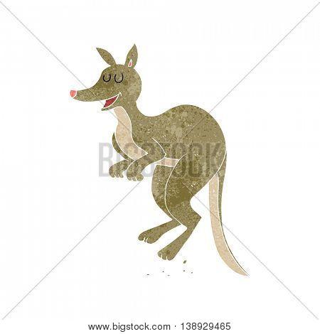 freehand retro cartoon kangaroo