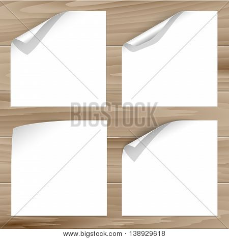 Vector collection of paper sheets with curled corner on wooden planks background. For paper page design with curled corner, document design, web graphic, banner, flyer design with curled corner.