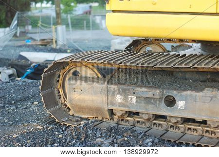 yellow excavator closeup construction site heavy tools bulldozer machine