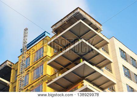 building construction corner view, concrete build condominium