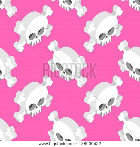Isometric Skull Seamless Pattern. Head Skeletal Pattern. Crossbones Texture. Remains Background