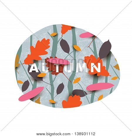 Autumn illustration with different falling leaves in the forest.
