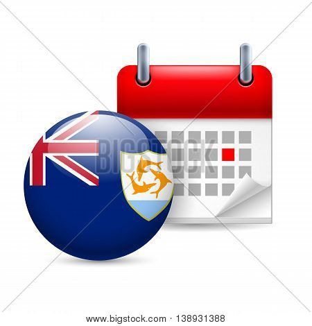 Calendar and round flag icon. National holiday in Anguilla