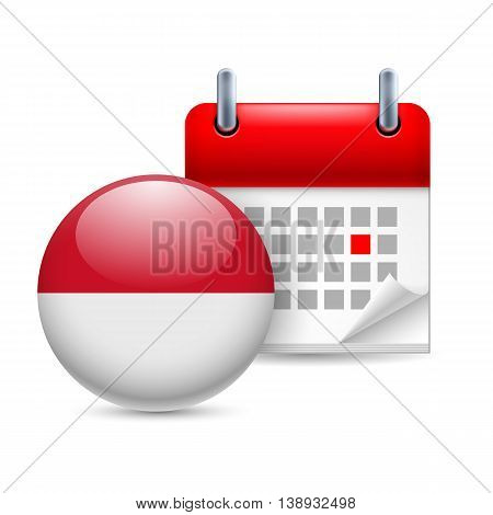 Calendar and round flag icon. National holiday in Monaco