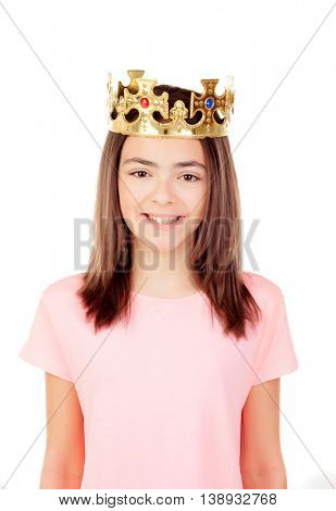 Pretty preteen girl with a crown isolated on a white background