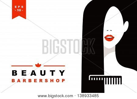 Hair salon with women face and comb silhouette