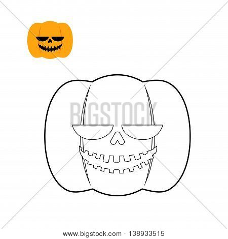 Halloween Pumpkin Coloring Book. Symbol For Dreaded Holiday In Linear Style