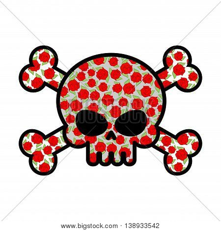 Skull With Roses. Flower Head Skeleton. Crossbones Flower