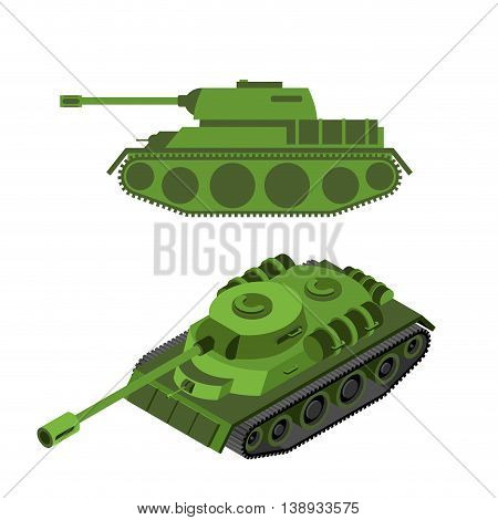 Tank Isometric On White Background. Army Technique. Armored Fighting Vehicles, Tracked With Gun And