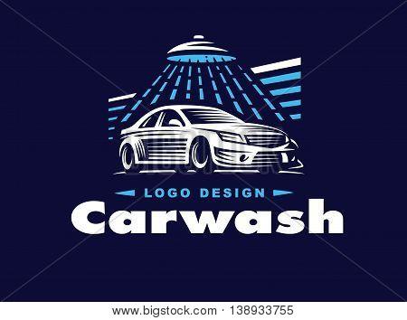 Logo design car wash on dark background.