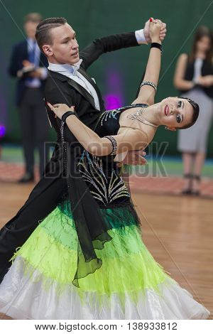 Minsk Belarus -May 28 2016: Puschin Aleksey and Makovskaya Valeriya Perform Youth-2 Standard Program on National Championship of the Republic of Belarus in May 28 2016 in Minsk Republic of Belarus