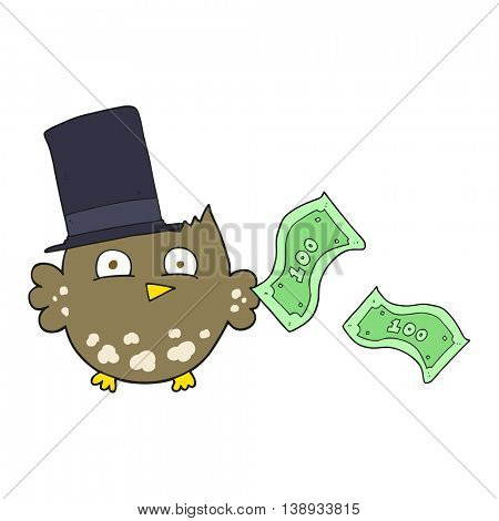 freehand drawn cartoon wealthy little owl with top hat