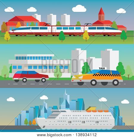 Logistic concept flat banners set of vehicle, rail and maritime transport delivery services abstract isolated vector illustration