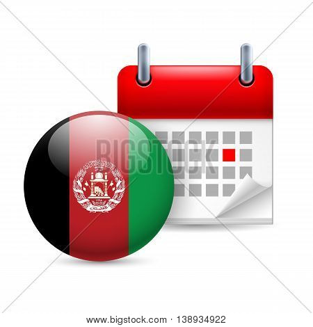 Calendar and round Afghan flag icon. National holiday in Afghanistan