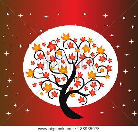 Autumn tree illustration, vector tree isolated on background